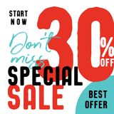 Special Sale V2 30 percent don`t miss vector heading design fa. Shion style for banner or poster. Sale and Discounts Concept stock illustration