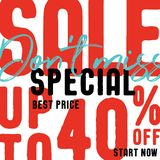 Special Sale V2 40 percent don`t miss vector heading design fa. Shion style for banner or poster. Sale and Discounts Concept royalty free illustration