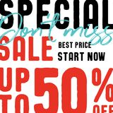 Special Sale V2 50 percent don`t miss vector heading design fa. Shion style for banner or poster. Sale and Discounts Concept vector illustration