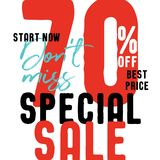Special Sale V2 70 percent don`t miss vector heading design fa. Shion style for banner or poster. Sale and Discounts Concept vector illustration