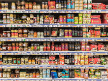 Special Sauces On Supermarket Stand Royalty Free Stock Photography