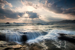 Sea water flows, morning sunrise Royalty Free Stock Photography