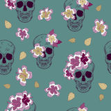 Special seamless pattern with skull and flowers Royalty Free Stock Photos