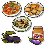 Special set eggplant in variety of dishes. Vector Royalty Free Stock Photos