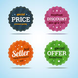 Special set of premium sale badges in flat style. Royalty Free Stock Photography