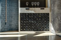 Special shelf for storing wine Stock Photography