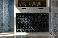 Special shelf for storing wine Royalty Free Stock Photo