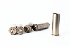 .38 special shell casings isolated on white background Stock Photography