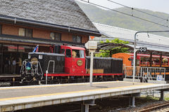Special sightseeing train at Arashiyama station. Arashiyama, MAY 2: Special sightseeing train at Arashiyama station on MAY 2, 2011 at Kyoto, Japan Royalty Free Stock Photo