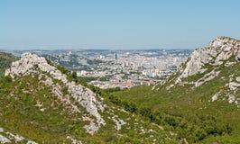 Special sikt av staden av Marseille i södra Frankrike Royaltyfri Bild