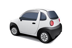 Special small car on white background. Vector mini no brand machine for fast delivery at heavy traffic Stock Images