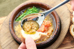 Special soup of Mentaiko potatoes and fish eggs with toast in st Stock Images