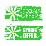 Special and spring offer with flowers signs, green drawn labels Stock Photos