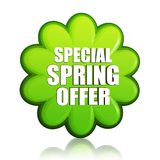 Special spring offer green flower label Stock Photo
