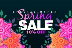Special Spring sale 10% Off banner with paper flowers on a dark background. Illustration perfect for promotions, advertising, web. Sites, mobile banner royalty free illustration