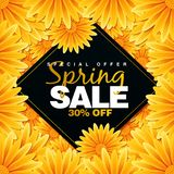 Special Spring sale offer 30% Off Promotional banner background with colorful flower stock illustration