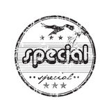 Special stamp. Abstract grunge rubber office stamp with small stars, a flying bird shape and the word special written in the middle of the stamp Royalty Free Stock Photo