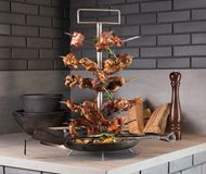 Special stand of grilled meat selection stock photos