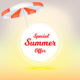 Special summer offer, ad summer banner with sun umbrella. Hot offers on backdrop of sun. Seasonal shopping concept. Promotion template for your online shopping Stock Images