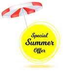 Special summer offer, ad summer banner with sun umbrella. Hot offers on backdrop of sun. Seasonal shopping concept. Promotion template for your online shopping Stock Image