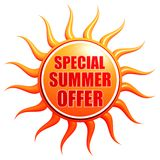 Special summer offer in 3d sun label Stock Photo