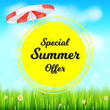 Special summer offer selling ad banner. Holiday discounts backdrop with big yellow sun, green field, white clouds and Stock Photos