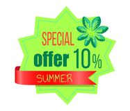Special Summer Offer Sticker with Palm Leaves. Convenient low cost promo emblem. 10 sale only at summertime on logotype isolated vector illustration stock illustration