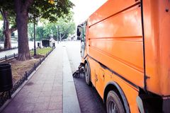 Special sweeper cleans the pavement Stock Image