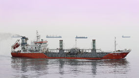 Special tanker. Busan, South Korea – February 22th, 2016: Busan, road of the port of Busan, anchorage of sea vessels, the special tanker MORNING SEA Royalty Free Stock Photos
