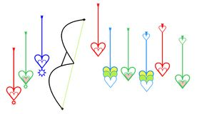 Special target point arrows or aiming point arrows or lakhyabhed arrows with love sign icon. Illustration as print in cloth or metal ,plastic Stock Image