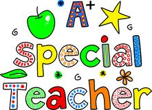 A special teacher. Decorative whimsical paterned text design Royalty Free Stock Photography