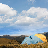 Special tent set on the grassland of high mountain. Royalty Free Stock Images