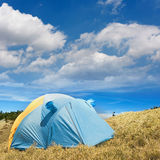 Special tent set on the grassland of high mountain. Stock Photos
