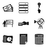 Special terminology icons set, simple style. Special terminology icons set. Simple set of 9 special terminology vector icons for web isolated on white background Stock Images