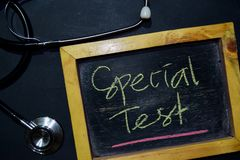 Special Test handwriting on chalkboard on top view. stock photo