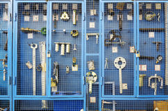 Special tools for car repairs. Are beyond blue lattice in closet Stock Images