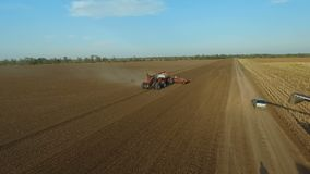Special tractor and combines. Agriculture. Agronomy. Cross-cut view of agricultural machinery from the air. stock video