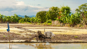 Special tractor to prepare the seedbed for Rice fields with blue Stock Images