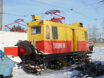 Special tram in depot. Snow-removal tram in tram depot 2 of Khabarovsk Stock Photography