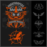 Special unit military emblem set vector design template. Paratroopers - Special unit military emblem set vector design template Royalty Free Stock Images