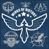 Special unit military emblem set vector design template. Paratroopers - Special unit military emblem set vector design template Royalty Free Stock Photography