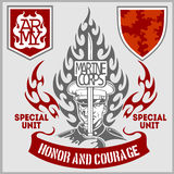 Special unit military patch - vector set Royalty Free Stock Photos