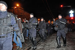 Special unit policemans against protest Stock Photography
