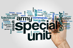 Special unit word cloud. Concept on grey background royalty free stock images