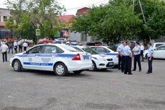 Special utrustning. Tre bilar av trafikpolisen. Arkivbilder