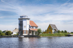 Special vacation home in the village Giethoorn Stock Photo