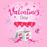 Special Valentine`s day sale symbol with gift, flying hearts, confetti and rose petals vector illustration
