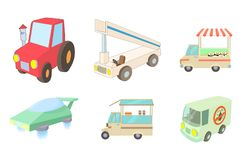 Special vehicle icon set, cartoon style. Special vehicle icon set. Cartoon set of special vehicle vector icons for web design isolated on white background Stock Images