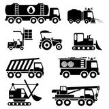 Special vehicles icons. Set vector icons of special vehicles and transport Royalty Free Stock Photo