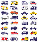 Special vehicles icons on white Royalty Free Stock Photo